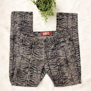 Levis 510 Super Skinny Jeans Gray Black Print 18